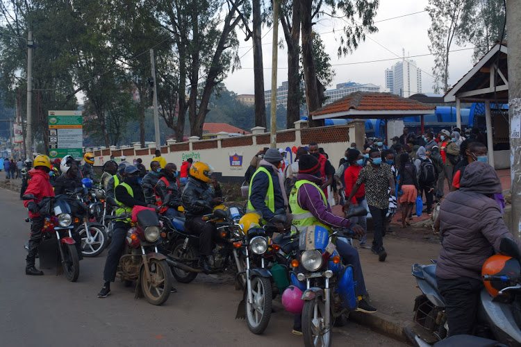 Boda boda riders waiting to pick passengers from Green Park Terminus during first test run on Tuesday, April 27.