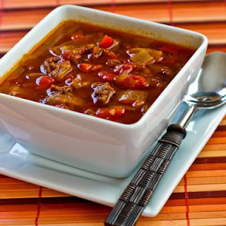 Low-Carb Goulash Soup with Red Peppers and Cabbage.