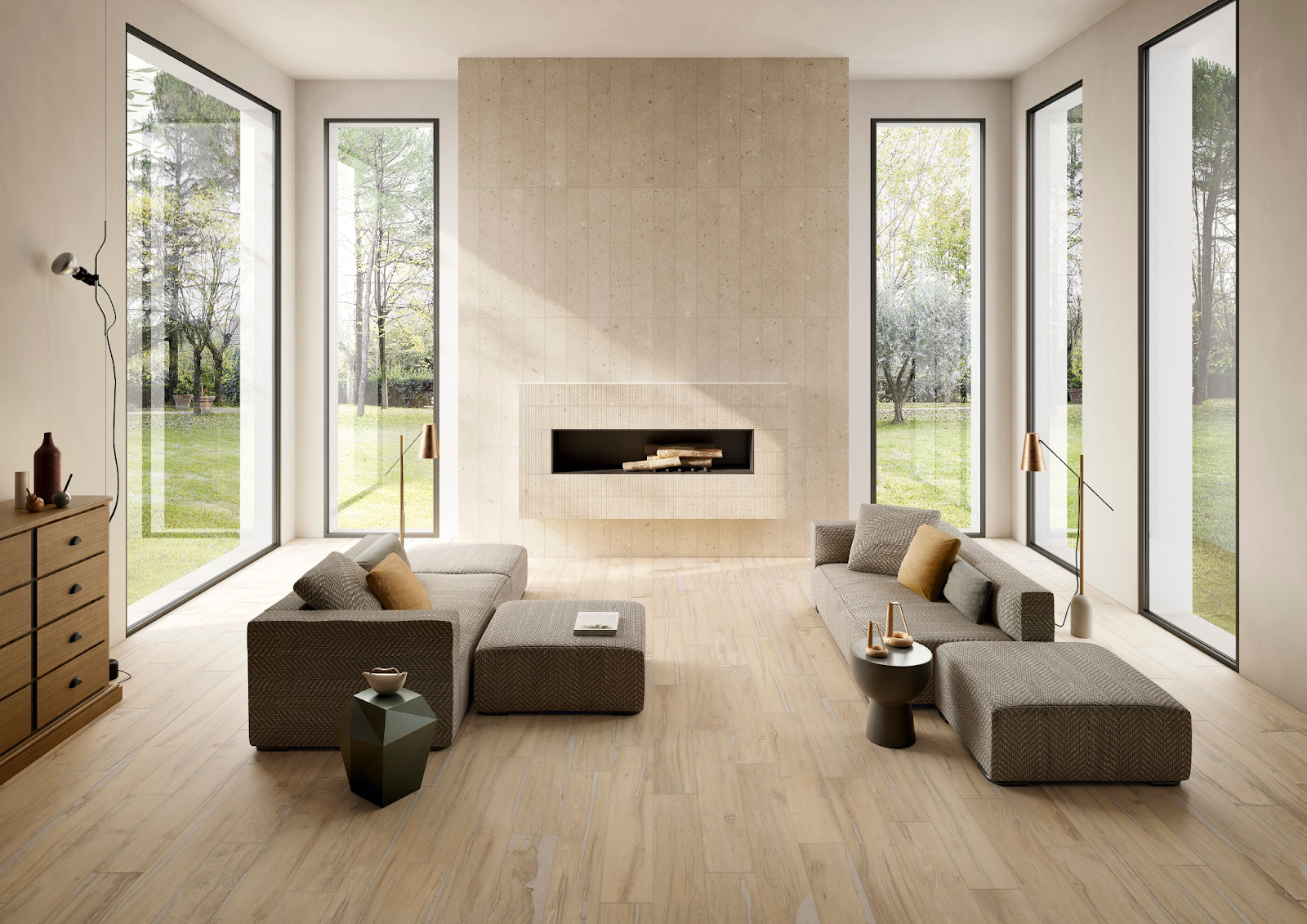 Living room with wood-look tile flooring and stone-look fireplace surround