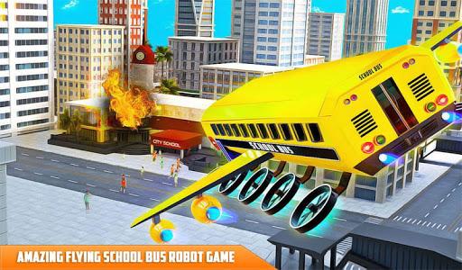 Flying School Bus Robot: Hero Robot Games 12 screenshots 13