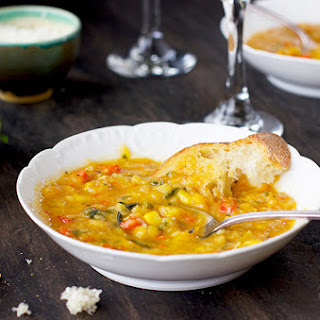 Yellow Split Pea Basil Soup with Roasted Peppers