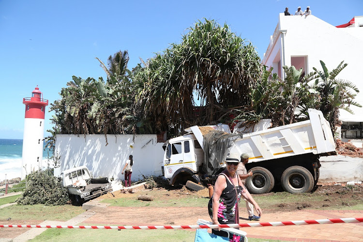 The truck collided with a smaller bakkie that was in a parking bay on Lighthouse Road.