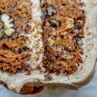 Carrot Cake with Cream Cheese Maple Pecan Frosting.