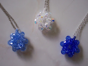 "Photo: Swarovski Crystal Snowflakes or flower. Diameter: 7/8"" and 3/8"" thickness. Color left to right: Sapphire light, Clear AB and Sapphire. $27.50 each."