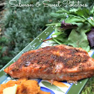 Jerk Salmon and Sweet Potatoes