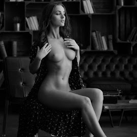 The less I care about the fall by Mike P - Nudes & Boudoir Artistic Nude ( dress, attractive, woman, sensual, natural, available light, girl, naked, beautiful, topless, legs, erotic, bust, black and white, nude )