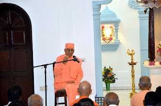 "Photo: Swami Vimokshanandaji, president of Ramakrishna Mission Singapore, speaking on ""Glory of Guru""."