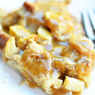 Cinnamon Apple Baked French Toast with Caramel Sauce.
