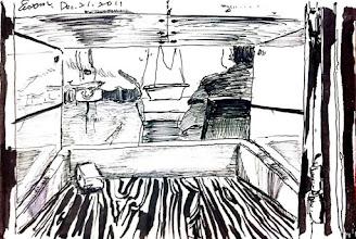 Photo: 遞物窗口2011.12.21鋼筆 從物檢室的遞物窗向外看,同事忙著key in接見資料和收會客菜,助勤的替代役學弟正起身把接見單歸檔。