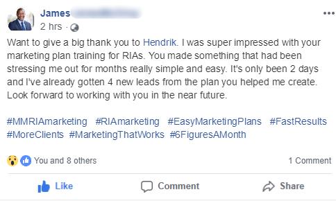 RIA CFP Advisor Marketing Plan Testimonial