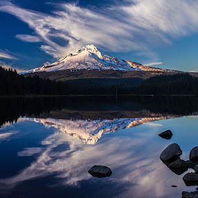 Clouds over Mt. Hood by Jodi Olson - Landscapes Mountains & Hills ( oregon, reflection, lake, pdx, mt. hood, reflections, mirror )