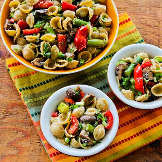 Whole Wheat Orecchiette Pasta Salad Recipe with Roasted Asparagus, Red Bell Pepper, and Mushrooms.