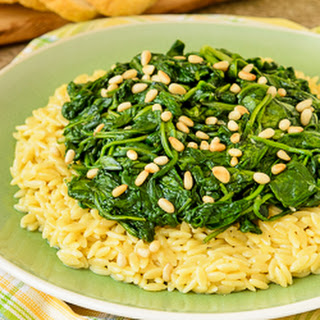 Spinach Topped Creamy Orzo Pasta.