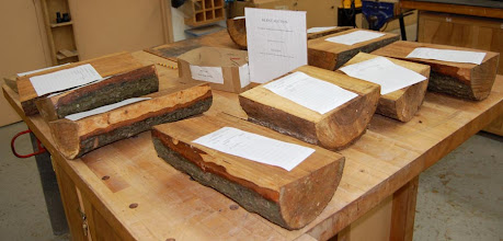 Photo: The silent auction table was filled with green 1/2 logs of elm and cherry.