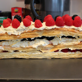 Instant heart-attack! LOL... by Michelle Ng - Food & Drink Candy & Dessert ( raspberry, yummy, stacked, dessert, blackberries, cream, puff pastry, raspberries, delicious,  )