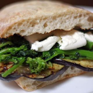 Grilled Eggplant, Broccoli Rabe, and Mozzarella Sandwich.