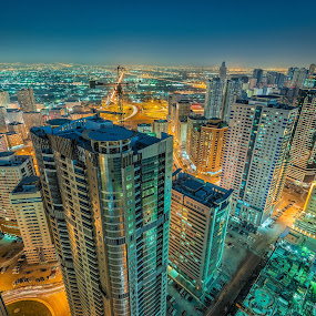 Sharjah Night by Ashraf Jandali - Buildings & Architecture Architectural Detail ( sunset, uae, buildings, lake, cityscape, rooftop, sharjah, city )