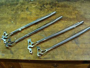 Photo: I was building another set of stainless chainstays for the bike ahead of Mark's, so I decided to do both sets together.  Mark's are the ones on the right with no eyelets, they're just back from the polisher.