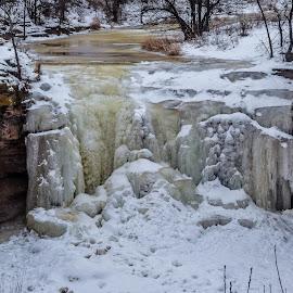 Frozen Wisconsin Waterfall by Jason Lockhart - Landscapes Caves & Formations ( wisconsin, cliffs, frozen waterfall, green bay, ice, snow, fonferek glen )