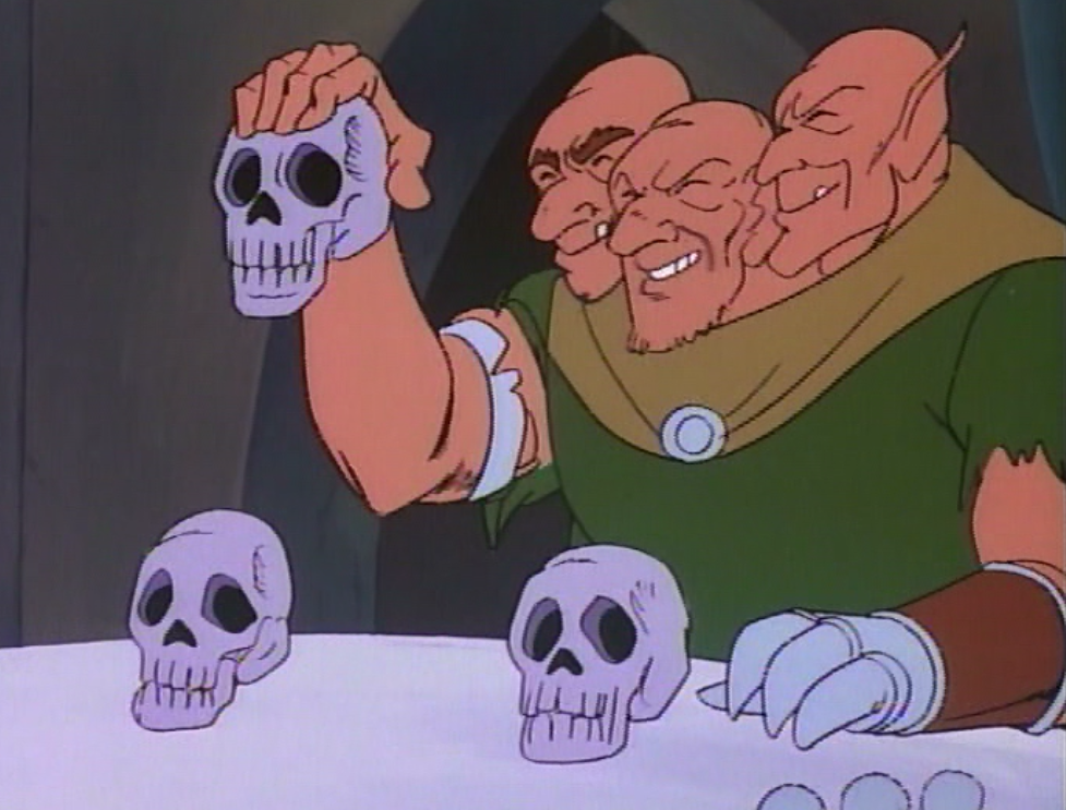 A three-headed ogre demonstrates the skull game.