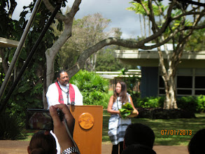 Photo: Kahu Kaleo Patterson and Hiihea provided a pule or blessing. Kahu shared his experiences and memories of his military background; his Dad was a soldier who served for at Schofield.