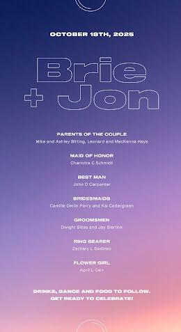 Brie & Jon - Wedding Program item