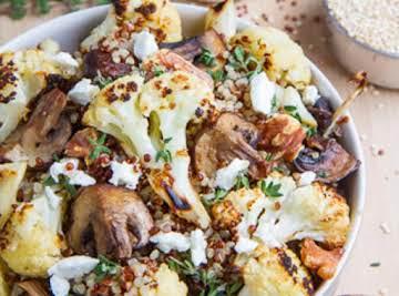 Roasted Cauliflower and Mushroom Quinoa Salad in Balsamic Vinaigrette