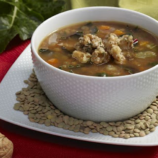 Lentil Soup with Kale Walnuts