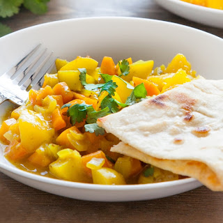 Home-grown Carrot And Mango Curry With Home-made Spices And 5 Minute Naan Bread (cooking With Kids).
