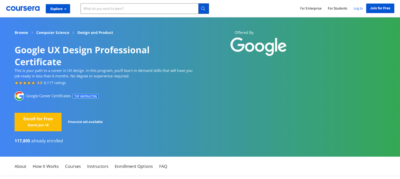 Landing page for the Google UX Design Certificate course on Coursera.