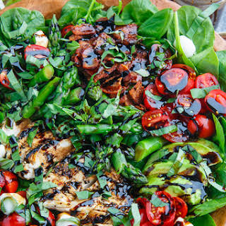 Grilled Chicken and Asparagus Caprese Spinach Salad with Bacon and Avocado.