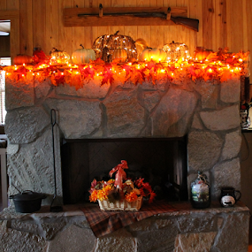 MANTLE by Patti Westberry - Public Holidays Thanksgiving ( thanksgiviing, autumn, fall, mantle, fireplace,  )