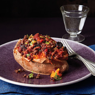 Sweet Potatoes with Cuban-Style Beef Picadillo.