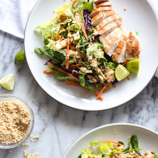 Easy Asian Chicken Salad with Peanut Dressing.