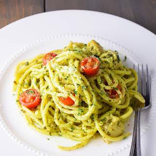 Easy Chicken Pesto Pasta.