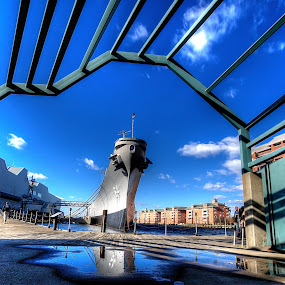 A Walk Downtown by Nathaniel Jorge - Transportation Boats ( naval, reflection, hdr, ship, norfolk, summer, reflections, people, places, architecture, building )