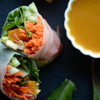Winter Veggie Salad Rolls with Warming Roasted Pumpkin Curry Sauce.