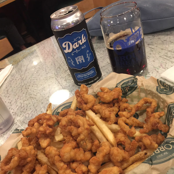 Everything is GF! Clam strips and Ground Breaker Dark Ale