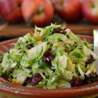 Brussels Sprouts Salad with Cranberries and Pine Nuts.