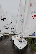 Photo: Day 2 of sailing is complete for the Apprentice Division of the Laser Competition (ages 35 to 45 - at 35 Jeff was one of the youngest in the race) and they all bring their boats off the water.