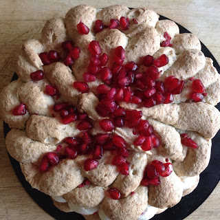 Pistachio Dacquoise with Raspberry and Pomegranate.