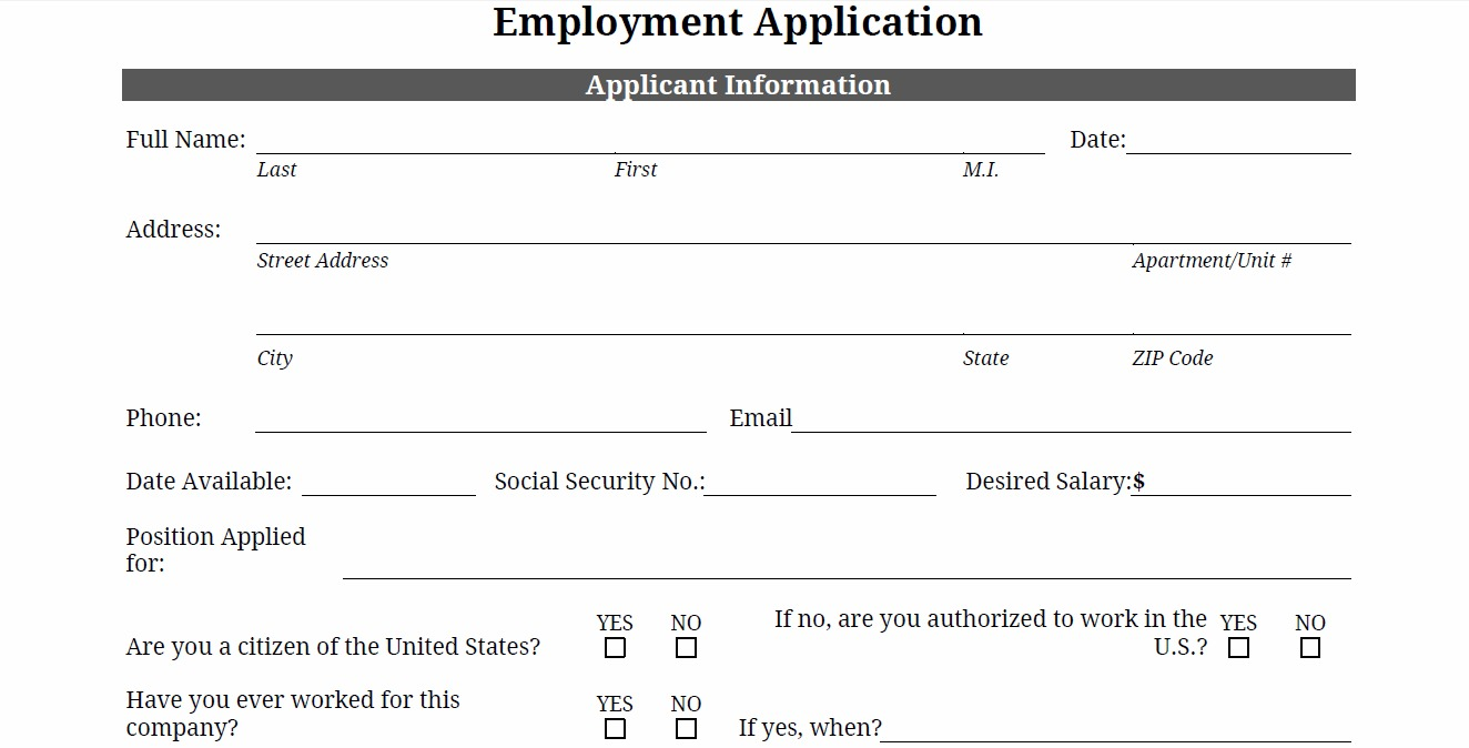 printable generic employment application application template