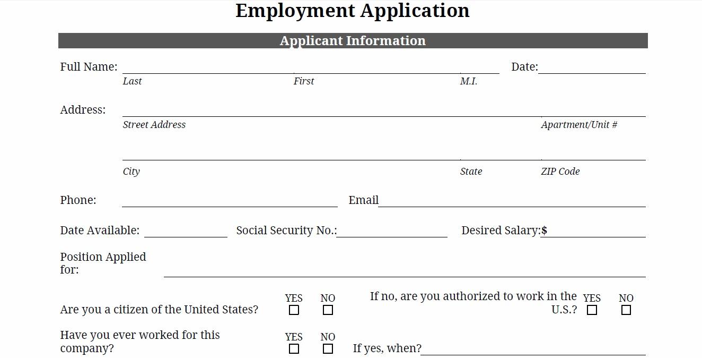 Free Printable Job Application – Printable Employment Application