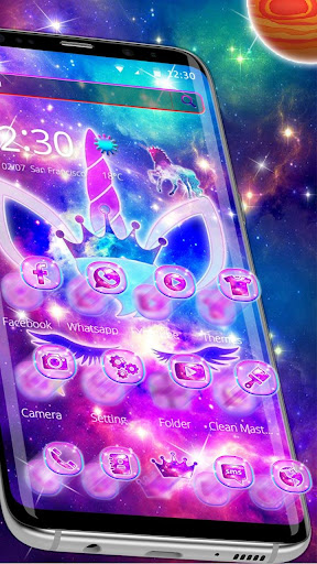 Shiny Galaxy Cute Unicorn Theme ss2
