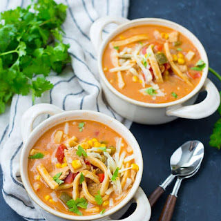 Creamy Chicken Enchilada Soup with Noodles.