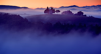 Photo: Chapel in the fog in Tuscany