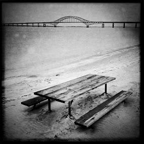 Reversal of Erosion by Melanie Kern-Favilla - Instagram & Mobile iPhone ( water, sand, sky, park, hipstamatic, black & white, beach, bridge, iphone )
