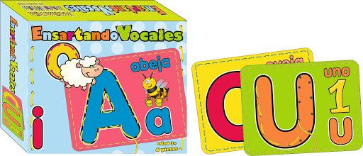 Juego Ensartando Vocales + 3 Anos 6 Piezas Ensartando Vocales