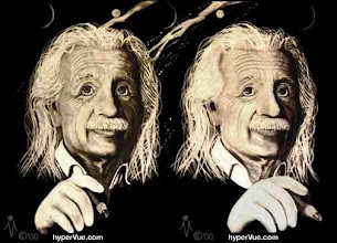Photo: Albert Einstein 4DX -3D stereo/subliminal by artist michaelm