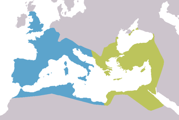 Map of Europe depicting the division between the western and eastern halves of the Roman Empire beginning with Diocletian.